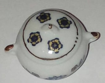 Tureen porcelain pattern blue and yellow 40mm