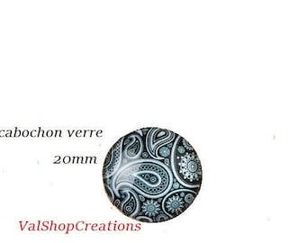 X 1 black-grey 20mm glass Cabochon