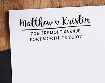 Return Address Stamp - Personalized Self Inking - Custom Name - Love - Custom address Calligraphy Stamp - Rubber Stamp Pre-inked Stamp RE966