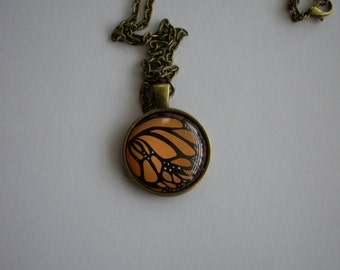 Monarch Butterfly Illustration, 1-Inch Pendant Necklace