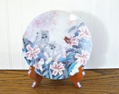 RESERVED for J Vintage Cat Plate Lily Chang Petal Pals Flowering Fascination W L George Collector Plate Persian Cat Tiger Lily Cat Collector