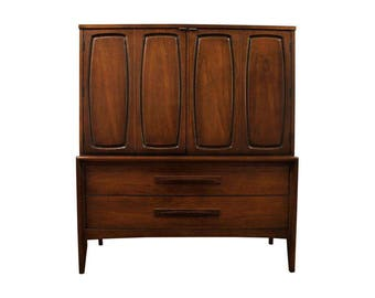 Mid-Century Danish Modern Broyhill Emphasis Walnut Gentleman's Chest/Tall Chest