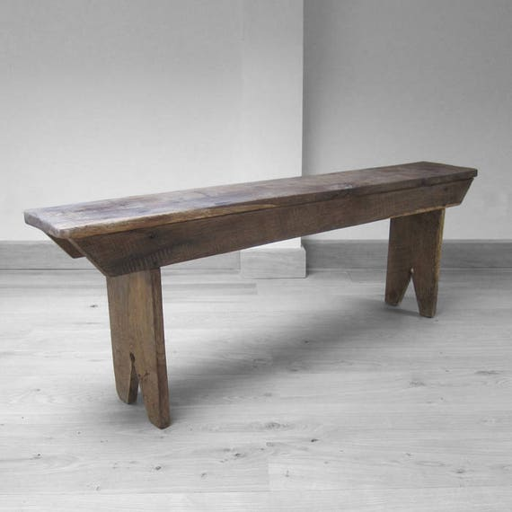 Rustic Oak Bench Seat Antique Old Kitchen Wooden Traditional 5ft Long