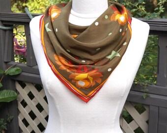 "Vintage Silk Scarf,26"" Square Headscarf,Floral Print Scarf, Earth Tone Fall Color Scarf,Orange Olive Scarf,Vintage Headscarf"