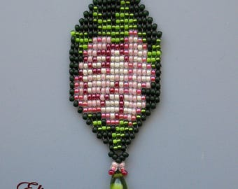 Pink rose flower Beaded pendant, loom necklace, beadwoven exclusive handmade, english garden necklace, birthday gift, old fashion jewelry