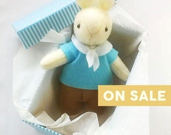 CLEARANCE SALE Nursery Decor, Baby Shower Gift, White Bunny in Blue Sailor Outfit, Felt Rabbit Ornament, Gift for Newborn Baby Boy