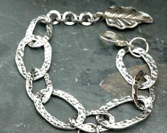 Pewter and Pearl Silver Chain Bracelet; Large Hammered Link Bracelet; Leaf Charm Bracelet