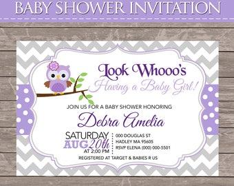 Purple Owl Baby Shower Invite