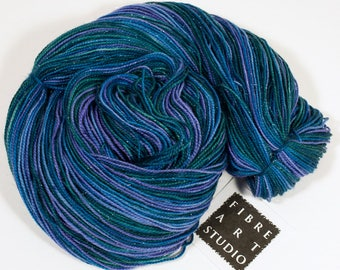Hand Dyed Sparkle Sock Yarn | Blue Green Purple Variegated Hand Dyed Yarn with Silver Glitter | SW Merino, Nylon, Stellina | Under the Sea