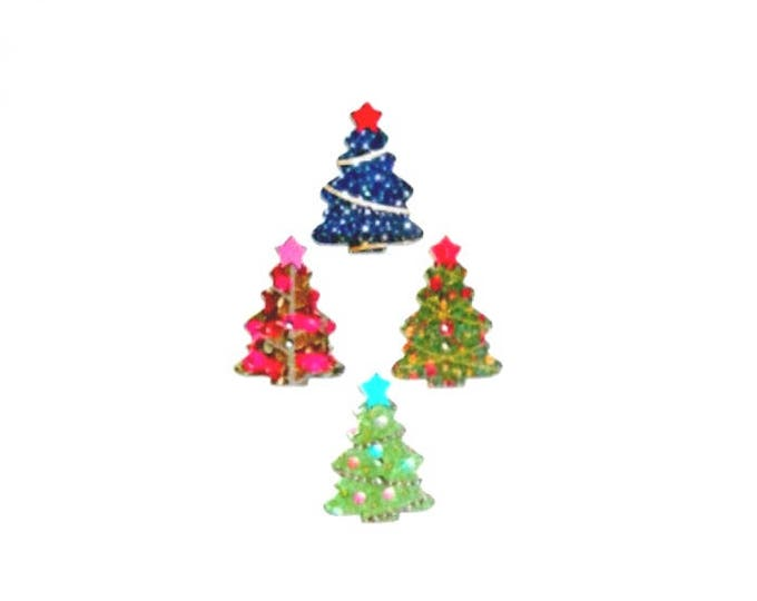 4 x Christmas Trees wooden buttons Pack 2