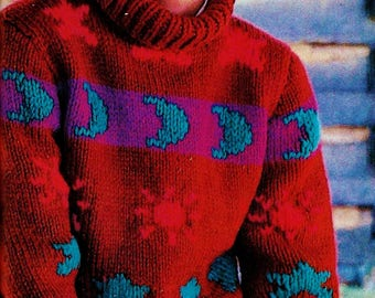 Sun, Moon and Stars Bulky Sweater Vintage Knitting Pattern Download