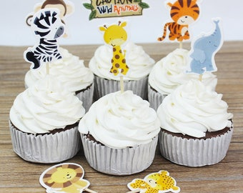 Zoo Animals Cupcake Toppers - Set of 24 (8 Designs) DIY Cupcake Toppers