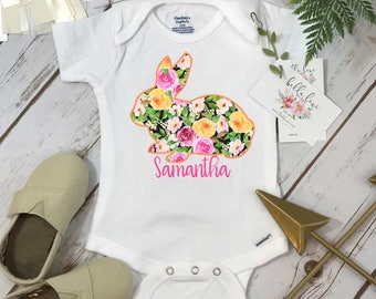 Easter Onesie®, Baby's First Easter, FLORAL BUNNY onesie, Personalized Easter, Baby Shower Gift, Monogram Easter Shirt, Baby's 1st Easter