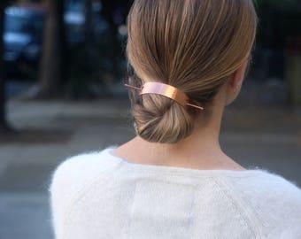 Bun holder copper hair cuff modern hair clip brass hair slide boho hair jewelry minimalist hair accessories hair pin christmas gift for her