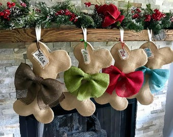 Burlap Dog Bone Christmas Stocking