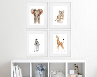 Set of 4 - Framed Nursery Art - Baby Animal Prints - Safari Nursery Print Set - Framed Animal Prints - Elephant - Giraffe - Lion - Zebra