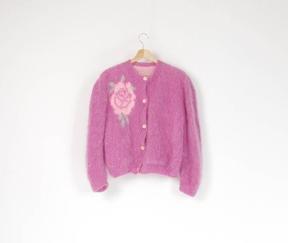 70s Pastel pink fluffy mohair knit cardigan / size S-M