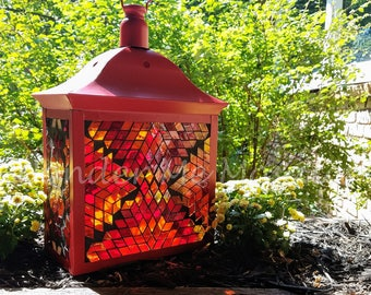 Stained Glass Mosaic Lantern - Large Red Fire