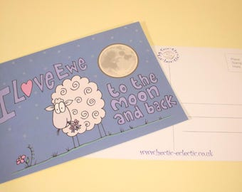 I Love Ewe to the Moon and back postcard - original sheep cartoon, Anniversary card, Valentine's card