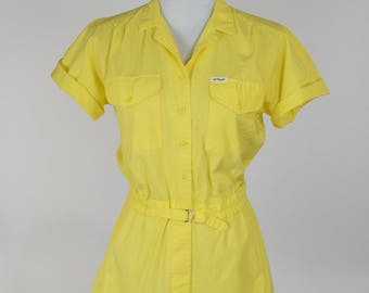 80s / 90s Yellow Cotton Romper, Shorts Playsuit // Summer Festival Clothing, Hipster Style, April O'Neil Cosplay