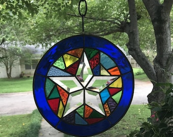 """Stained Glass Window Suncatcher in Stunning Colors-Abstract Bevel Star 9"""" Round"""