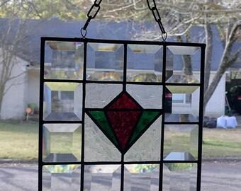 "Stained Glass Window Suncatcher Tulip w/Beveled Border - 8""x 8"" Square"