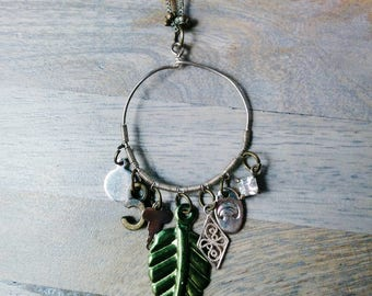 To a Forest Girl's Heart Necklace - Silver, antique, green, leafy, moon, crescent, crystal, key, pendant, hoop, charm, AgAuCu, gold
