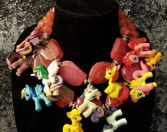 Pony Unicorn Pegasus Horse Statement Necklace KATROX OOAK Art to Wear Pink Agate Necklace Whimsical Eccenttic Playful Katrinka Jane OMG Gems