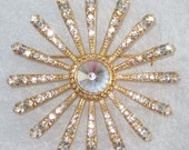 Gold Star Starburst Brooch Pin Vintage Crystals Rhinestones Czechoslovakia