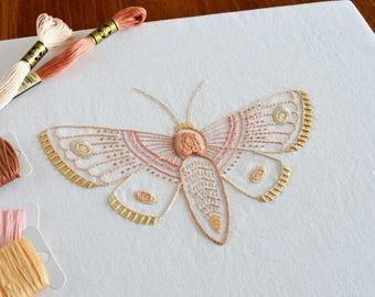 Anatomical Moth hand embroidery pattern, modern embroidery, nature, insects, embroidery design, embroidery pattern, PDF pattern