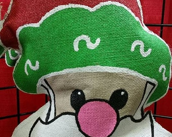 Santa Burlap Door Hanger,Cute Santa,Door Decoration,HO HO HO Santa