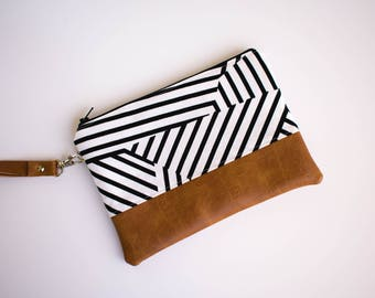 Geometric Wallet, Phone Wristlet, iPhone 5 Wallet, Vegan Clutch, Black and White