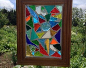 Rainbow Stained Glass Mosaic  Suncatcher Rainbow Mosaic Stained Glass Suncatcher Abstract Multi Colored Glass home Decor rainbow