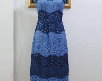 Blue Lace Aline Mini Dress with Scalloped Peplum, Color Block Design and Eyelash Details C920