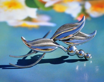 Vintage Sterling Silver Brooch, Modernist Leaf & Berry Art Deco Design, Minimalist Jewelry 1950's -  Curtman for Uncas  Gift for Her!