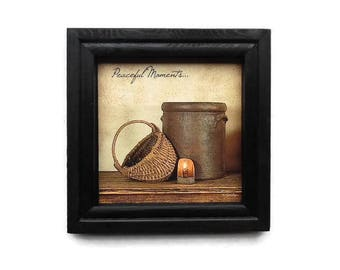 Peaceful Moments, Susie Boyer, Primitive Picture, Art Print, Country Decor, Wall Decor, Handmade, 8 X 8, Real Wood Frame,  Made in the USA