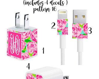 Iphone Charger Wrap, Monogram Iphone charger decal in Pattern 16