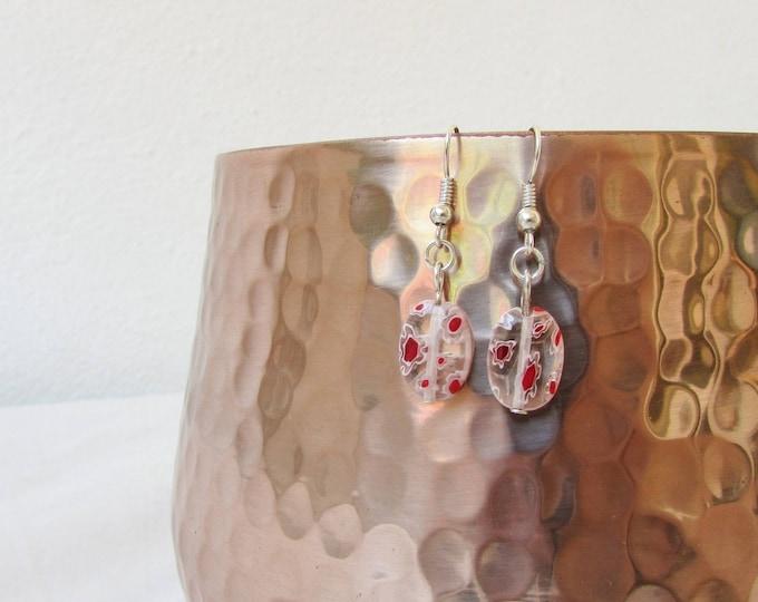 CLEARANCE Red White glass earrings, handmade in the UK