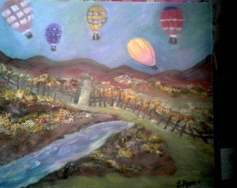 Wondering air balloons oil painting