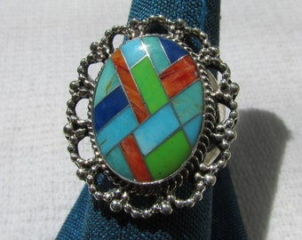 Vintage Native American Indian chanel inlay mosaic sterling ring size 8 signed FREE shipping USA only Chaco Canyon estate find
