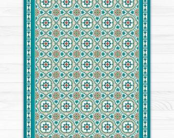 Turquoise Vinyl Floor Mat With Decorative Spanish Tiles Pattern. PVC Area  Rug, Kitchen Rug