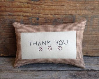 THANK YOU Pillow. Hand-written. Hand-stitched. Handmade Pillow. Mini Pillow. Thank You Gift. Thank You Pillow. Hand Embroidered Pillow.