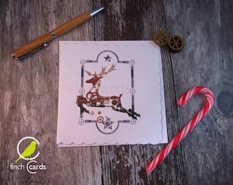 Steampunk Leaping Reindeer Christmas Blank Card, Reindeer Christmas Card, Steampunk Christmas Card, UK