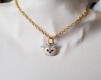 Tiny Enamel White Tabby Cat Kitten Face Charm Necklace on Gold Crossed Chain. Pets, Animals, Family, Cute, Gift