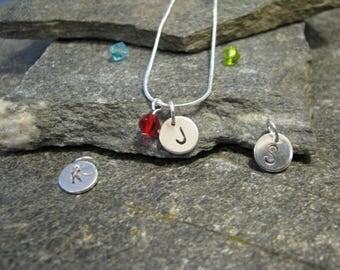 Initial necklace, disc initial necklace, initials, letter necklace, monogram necklace, birthstone necklace, birth month necklace