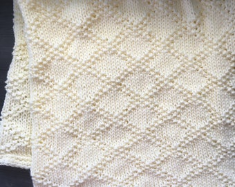Yellow Baby Blanket - Knitted Baby Blanket - Baby Boy Blanket - Baby Girl Blanket - Crib Blanket - Nursery Blanket - Baby Shower Gift