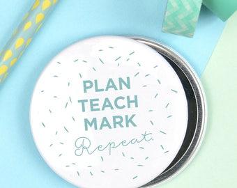 Teacher pocket mirror, larger than average teacher compact mirror, teacher gift