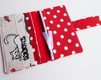 Red Cats Wallet, Red Polka Dots Wallet, Red Fabric Wallet, Cats Handmade Long Bi-fold Fabric Wallet, Vegan Wallet Clutch for Women