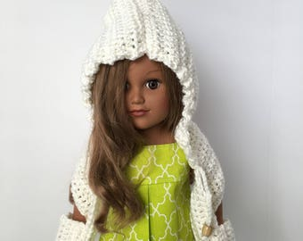 """HOODED POCKET SCARF. 18"""" doll.  Crocheted Hooded Scarf.  Doll Scarf. Doll Accessories.  Crocheted Doll Scarf.  Fits American Girl Doll."""