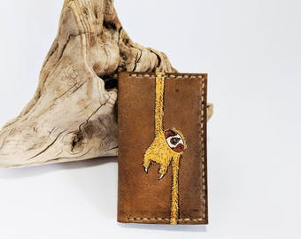 Unique Minimalist leather wallet / Mens leather wallet / Minimalist leather wallet / Sloth wallet / git for him